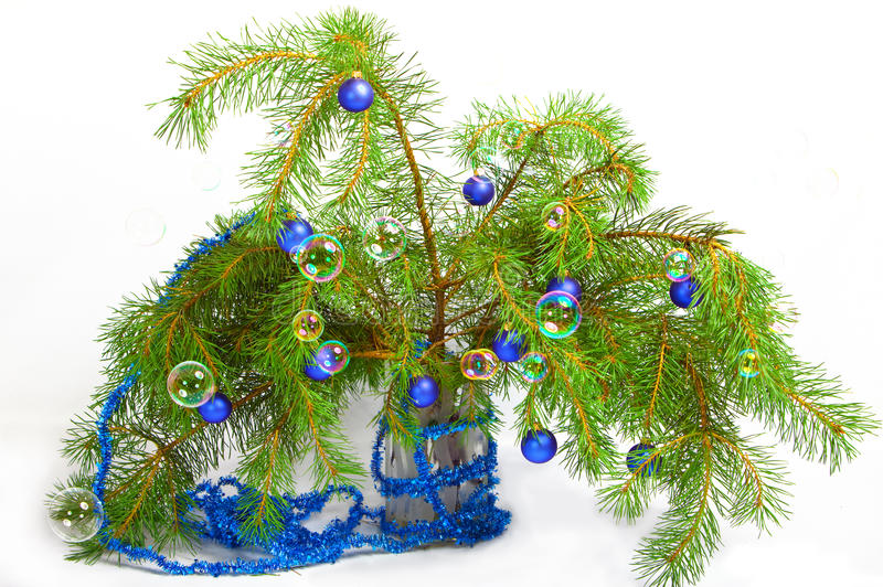 Christmas decoration on a fir-tree branches with t