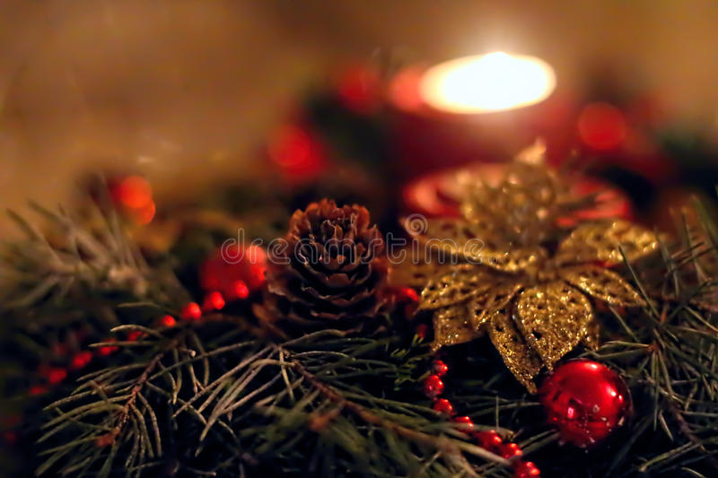 Christmas decoration. With fir-tree, candle, cone and frippery stock image