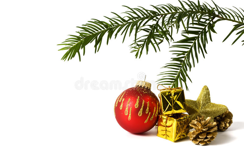 Christmas Decoration And Fir Twig Isolated Stock Images