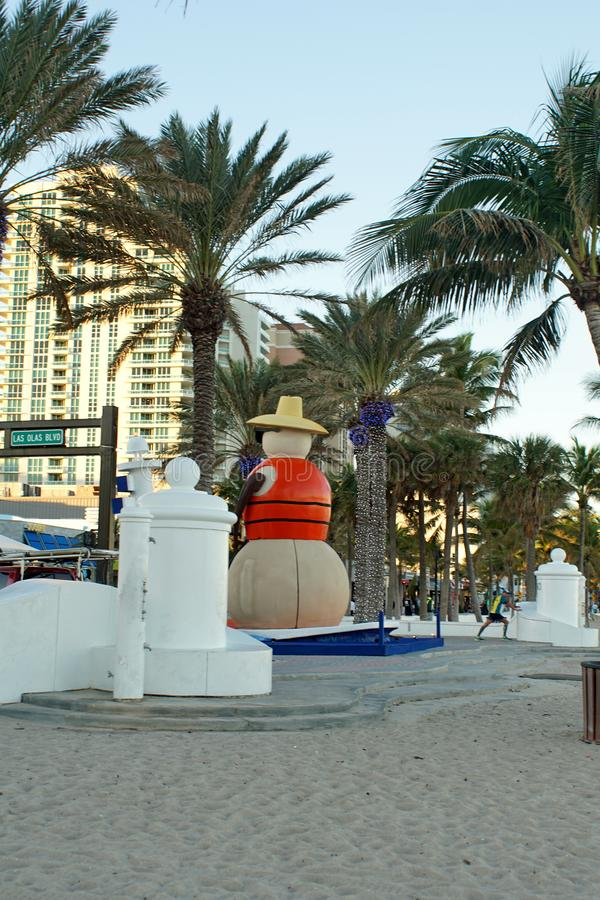 Christmas decoration on Fort Lauderdale Beach stock image