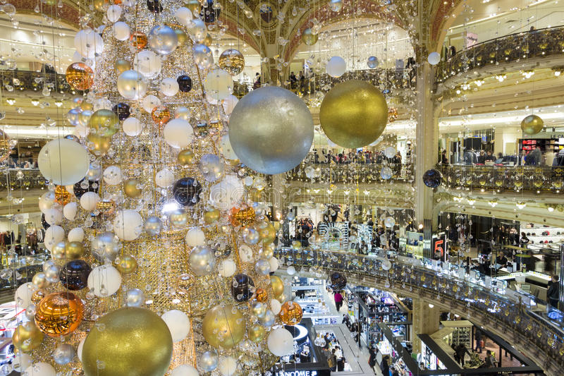 the christmas decoration at galeries lafayette shopping center