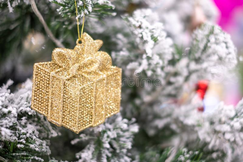 Christmas decoration, gift box and pine tree branches, Happy New Year and Xmas stock image