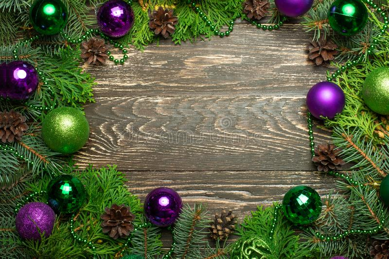 Christmas decoration gift box and pine tree branches. Holidays banner. stock photography