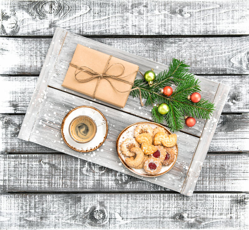 Christmas decoration gift coffee cookies wooden background stock images