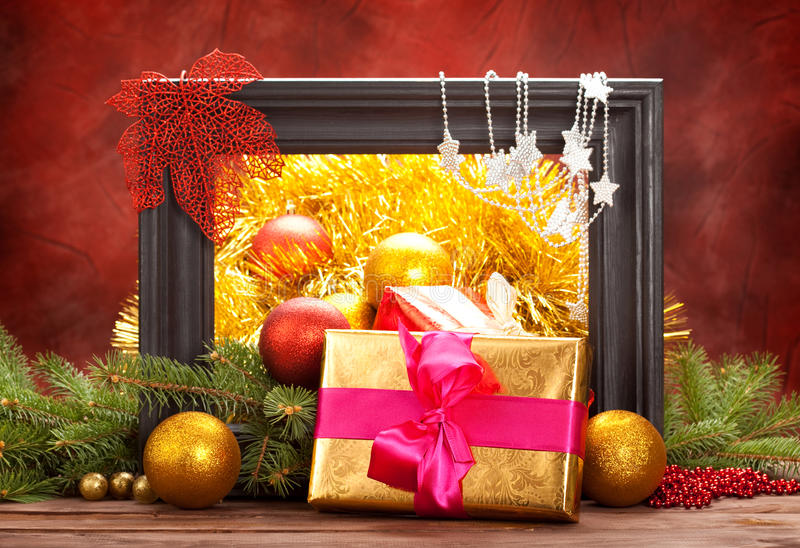 Christmas Decoration - Gifts And Balls Stock Images