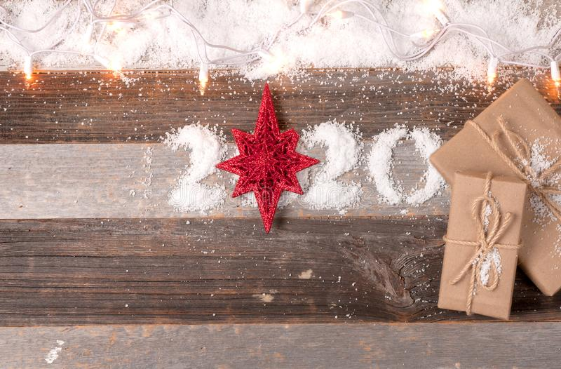 Happy New Year 2020 and Christmas gifts stock photos