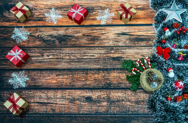 Christmas decoration and Christmas gifts on wooden background royalty free stock photography