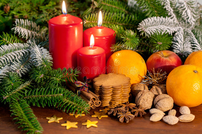Christmas decoration and gingerbreads stock photo