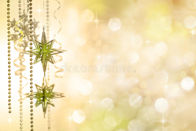 Christmas Decoration on Gold Defocused Lights stock photography