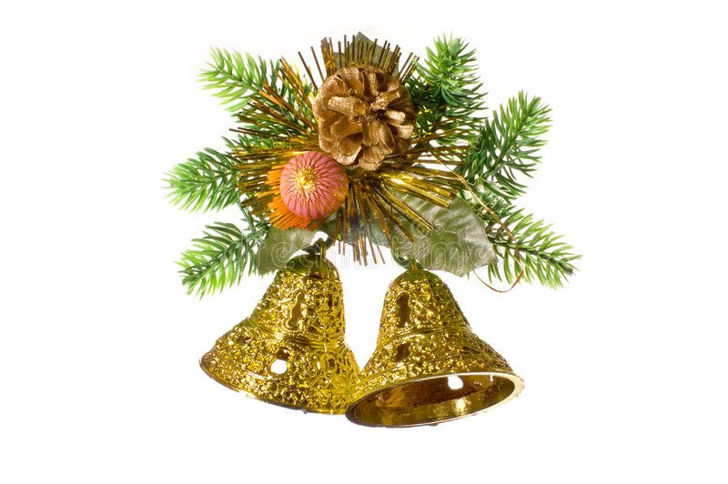 Download Christmas Decoration With Golden Bells. Stock Image - Image: 7438601