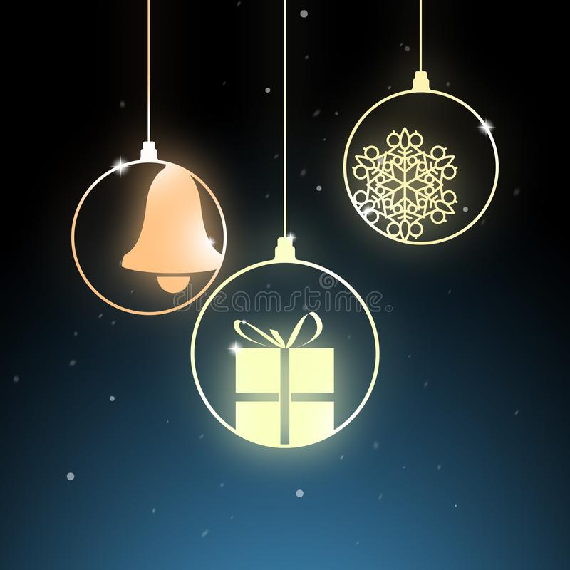 Christmas decoration - golden bells and gifts - festive holiday stock photography