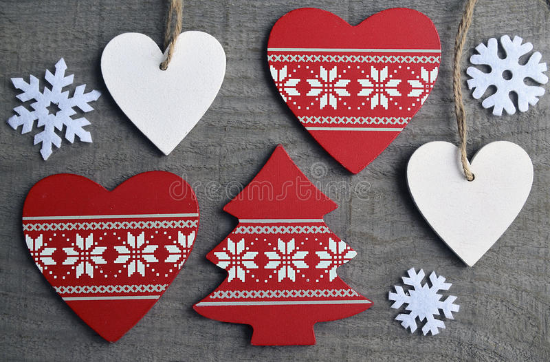 Christmas decoration on grey old wooden background. Selective focus.Winter holidays,Merry Christmas or Happy New Year concept royalty free stock image
