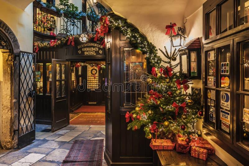 Christmas Decoration of Griechenbeisl Restaurant Entrance royalty free stock image