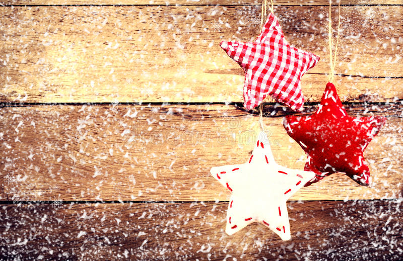 christmas decoration hanging over rustic wooden background  vint stock image