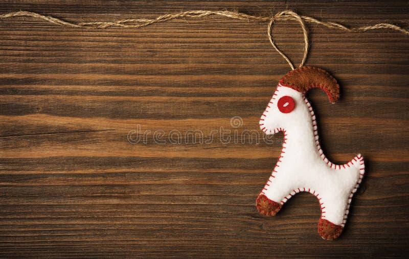 Christmas Decoration Hanging Toy, Grunge Wooden Background stock photos