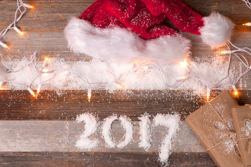 Christmas decoration Happy New Year 2017 holiday royalty free stock photos