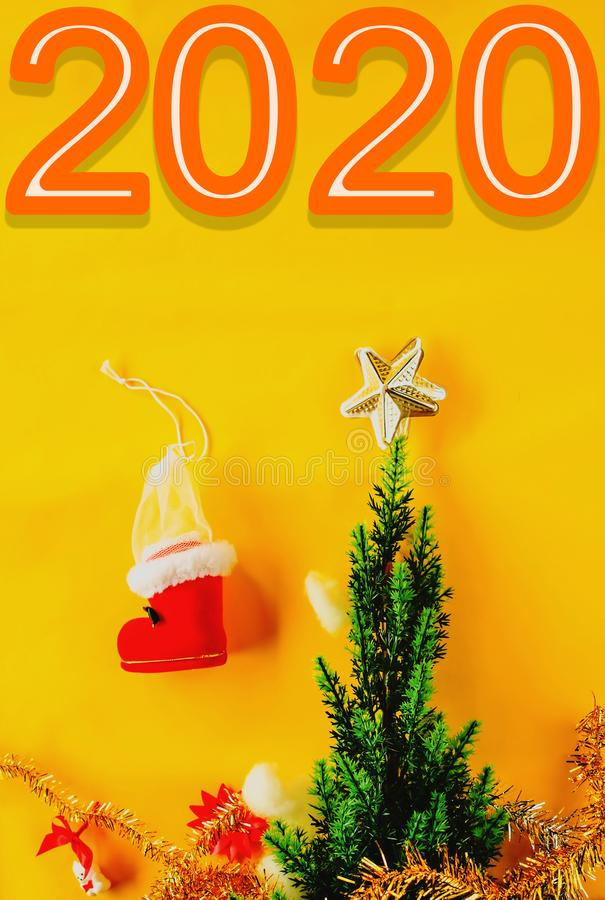 Christmas decoration with Happy new year 2020 royalty free stock photos