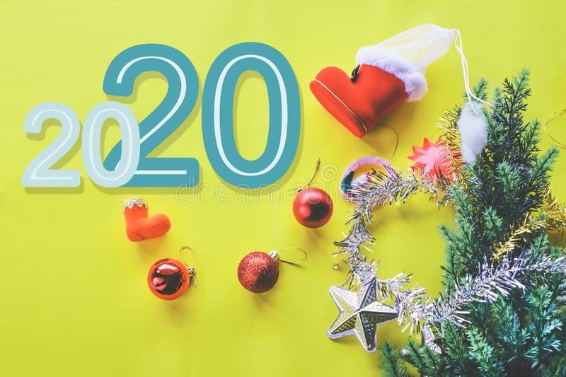 Christmas decoration with Happy new year 2020 royalty free stock photo