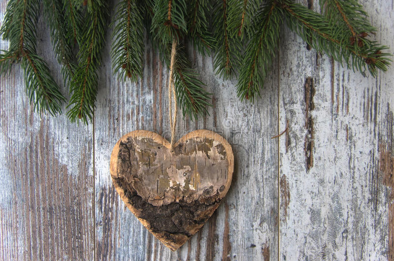 A Christmas decoration, heart - conifer - fir tree on textured w. Christmas decoration, heart on conifer of fir tree on textured wood background royalty free stock photography