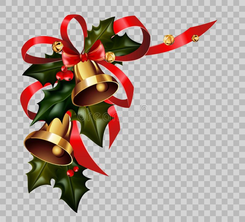 Christmas decoration holly wreath bow gold bells element vector transparent background. Christmas decoration of holly leaf wreath, golden bells and red ribbon