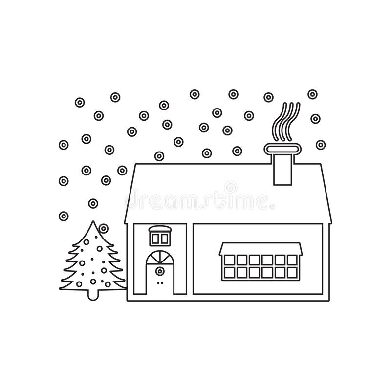 Christmas decoration house icon. Element of winter for mobile concept and web apps icon. Outline, thin line icon for website. Design and development, app royalty free stock images