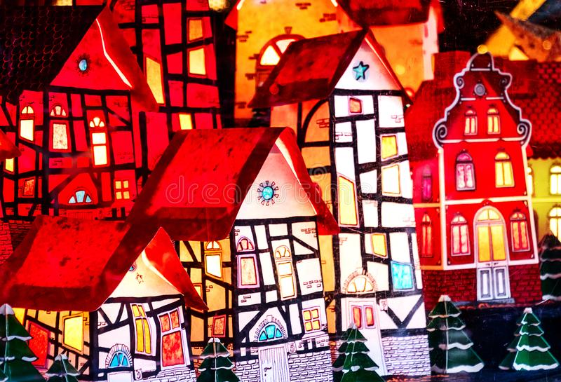 Christmas decoration - Illuminated miniature half-timbered Bavarian village, Germany stock photos