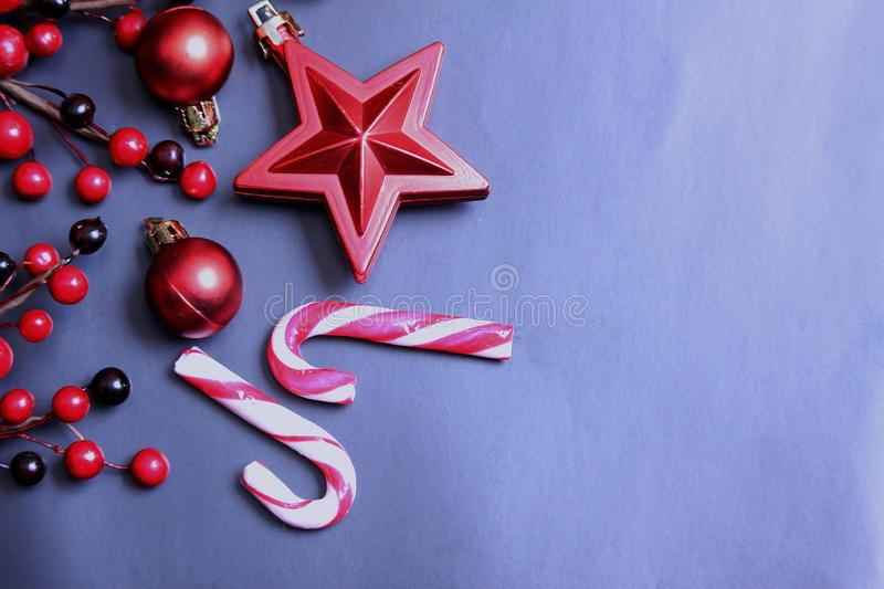 Christmas decoration isolated on black background. stock photo