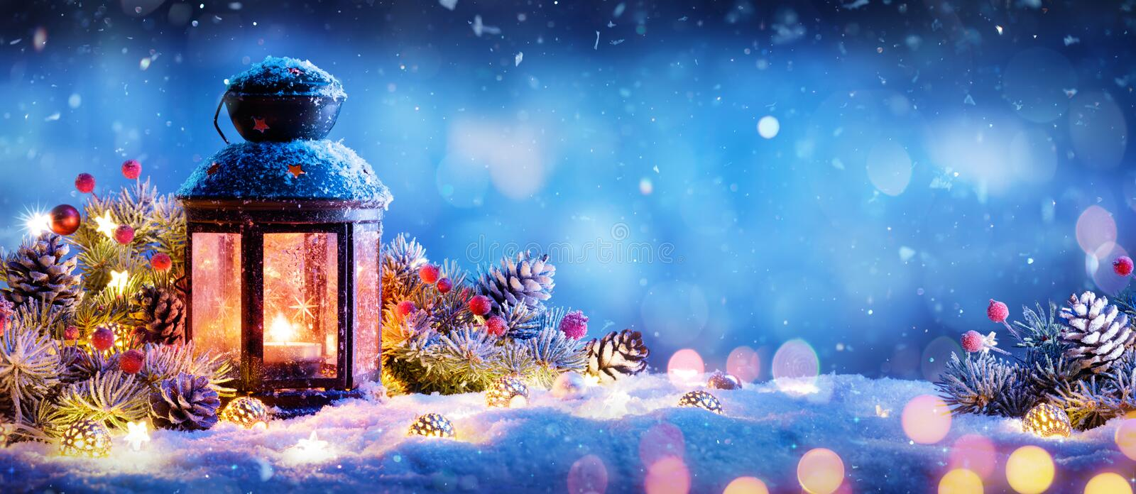 Christmas Decoration - Lantern With Ornament. On Snow stock image