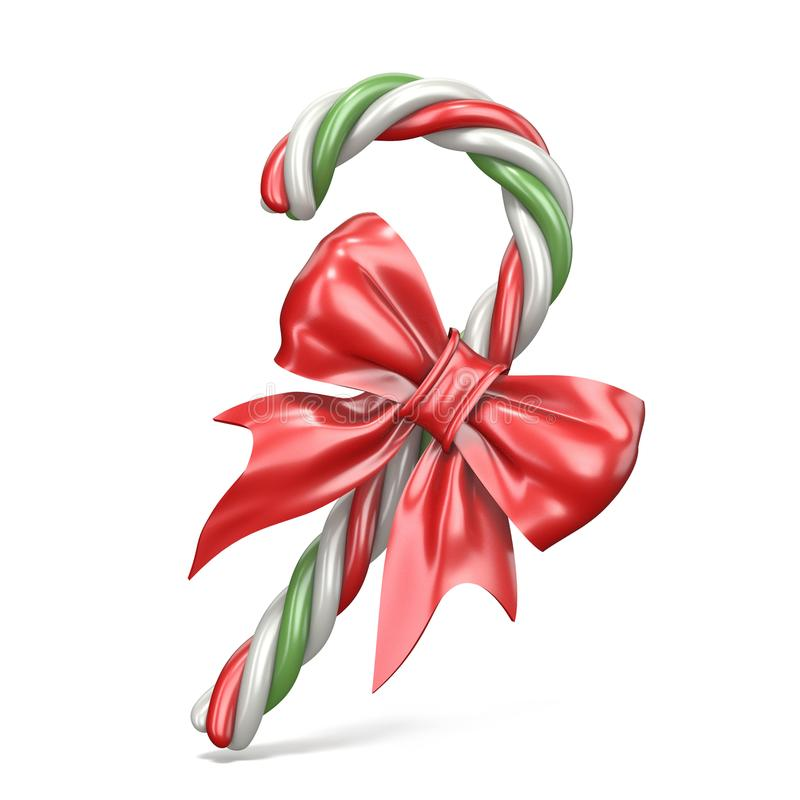 Christmas decoration made of candy cane and ribbon bow 3D royalty free illustration