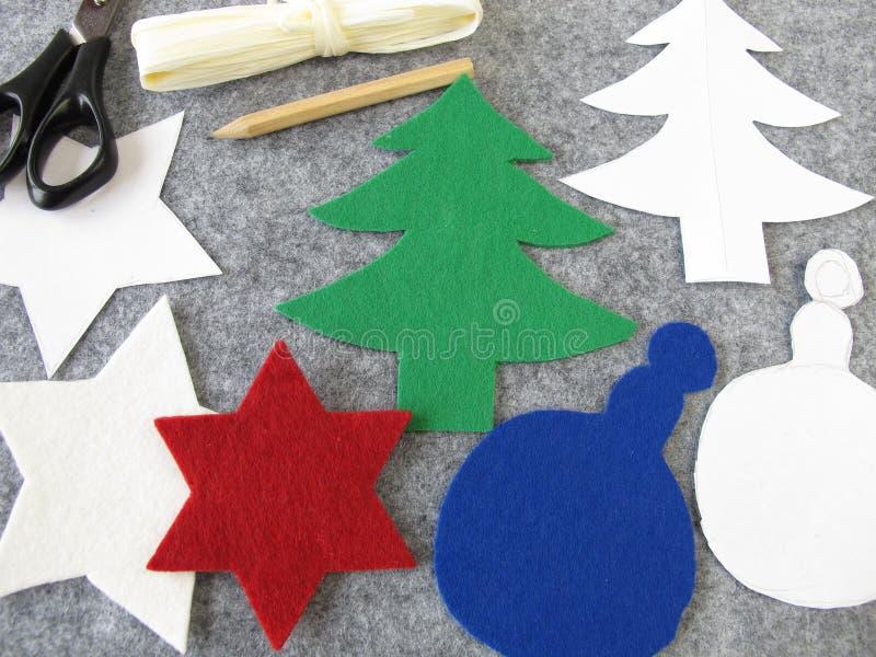 Christmas decoration made of felt royalty free stock photo