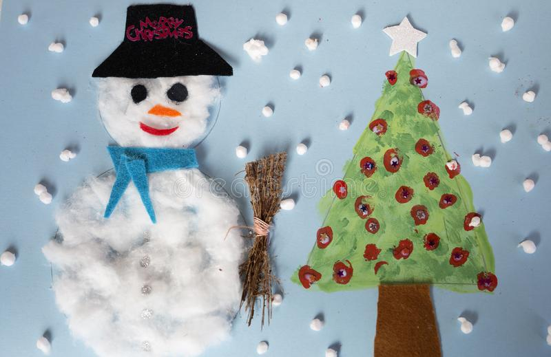 Christmas decoration made by a 10 year old girl. stock photo