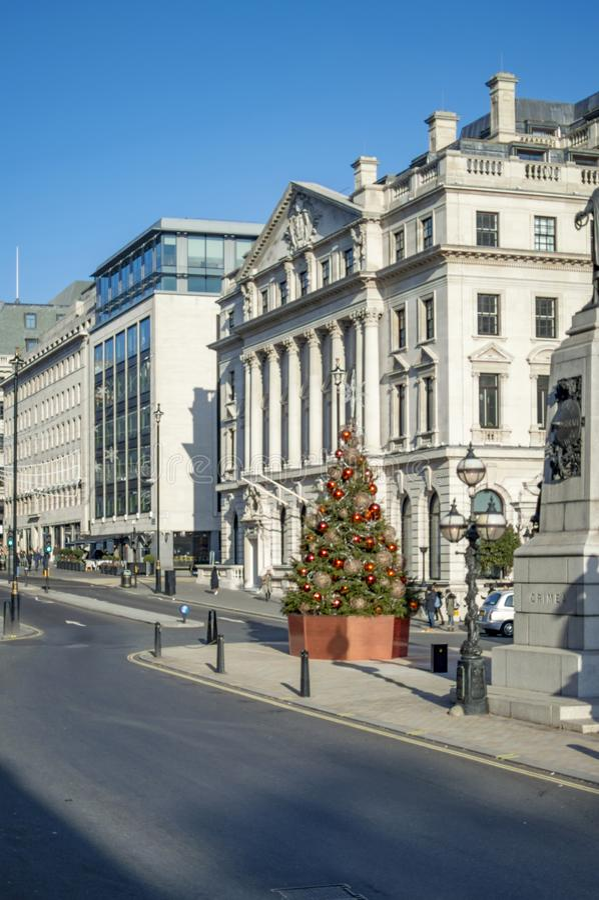 Christmas decoration near cremean war memorial. In london stock image