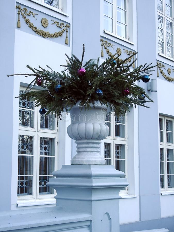 Christmas decoration near manor house in Silute, Lithuania. Beautiful Christmas decoration near old nice historical building in Silute, Lithuania stock photography