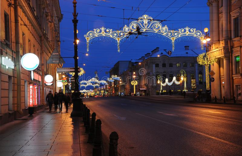 Christmas decoration of the Nevsky prospect. In Saint-Petersburg stock photos