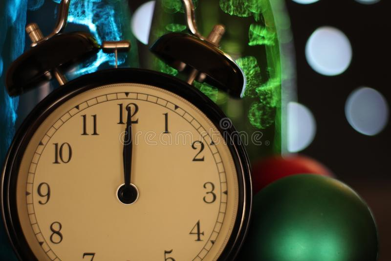 Christmas and new year`s eve celebration and countdown stock image