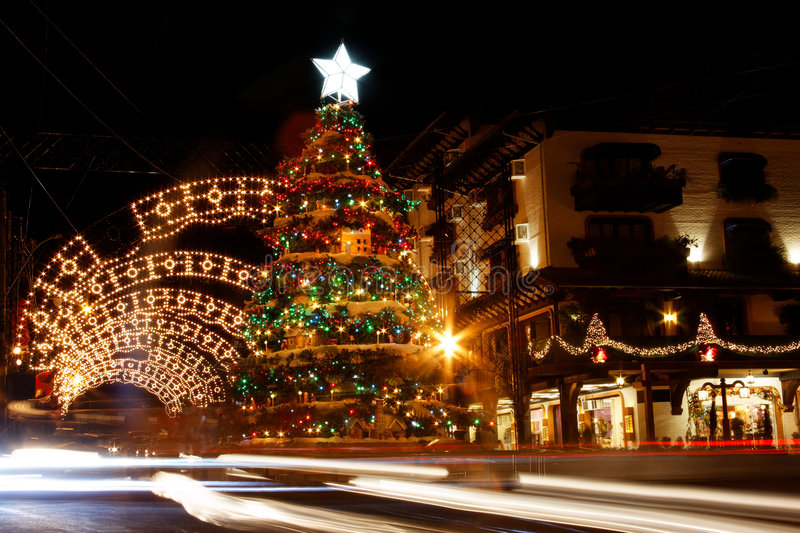 Christmas Decoration at Night Gramado stock images