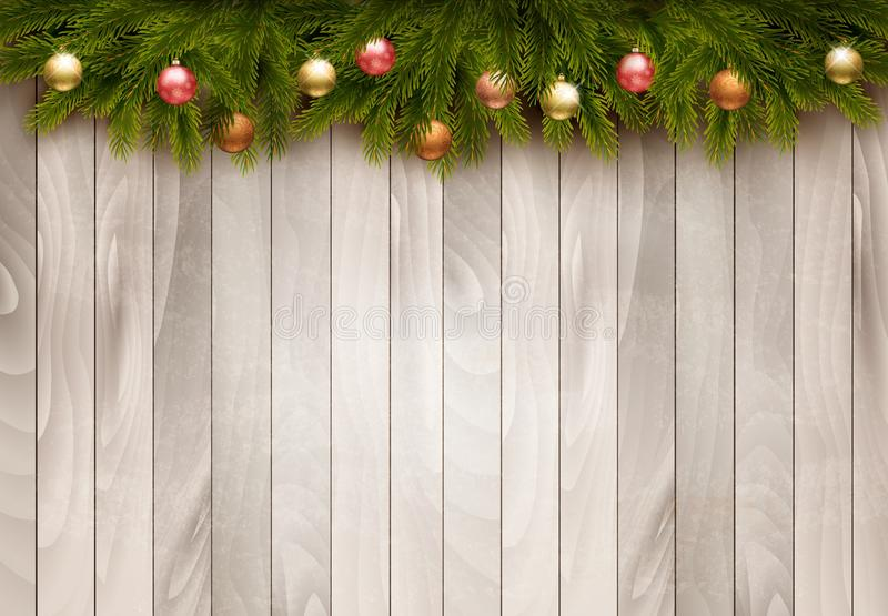 Christmas decoration on old wooden background. Vector royalty free illustration