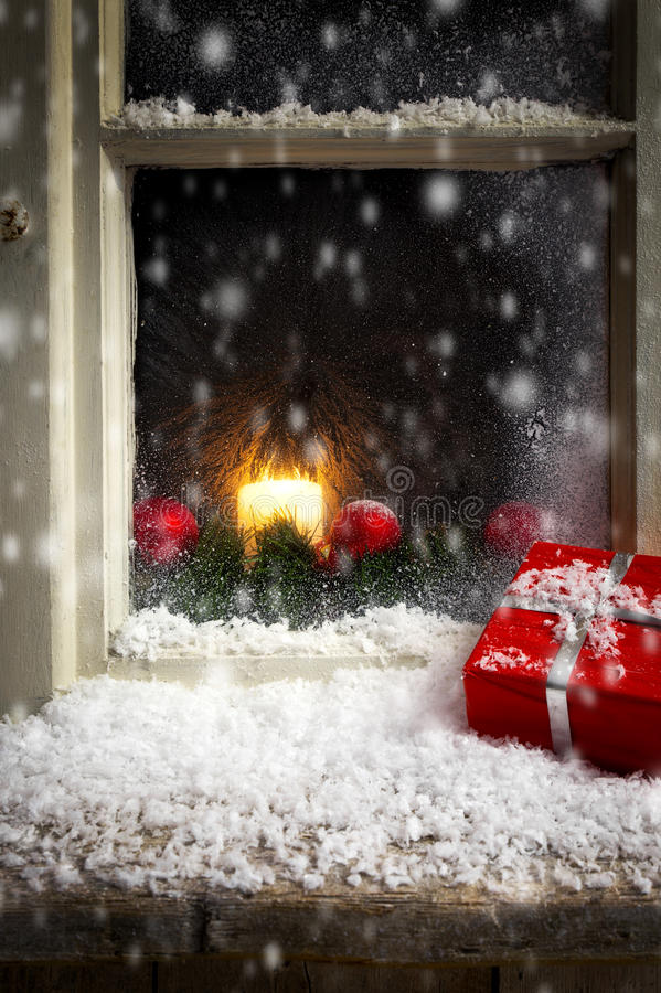 Free Christmas Decoration On A Window 3 Royalty Free Stock Image - 45736866