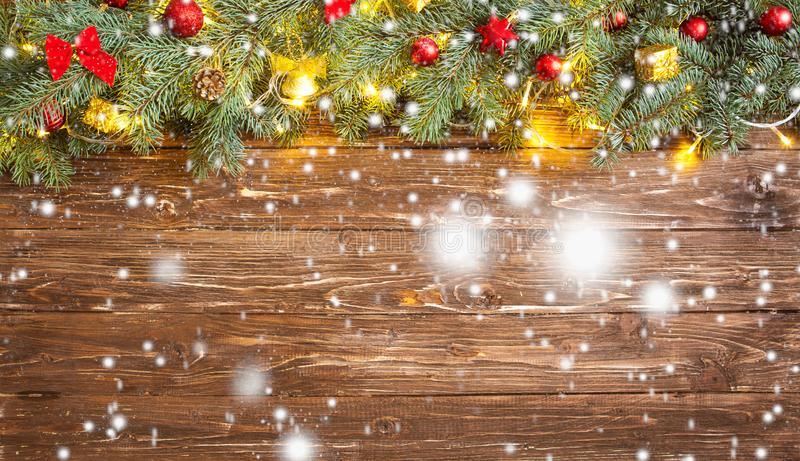 Christmas decoration over brown wooden background. Decorations over wood.  royalty free stock photo