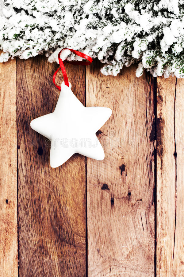 Christmas Decoration Over Wooden Background. Vintage Christmas C Stock Image