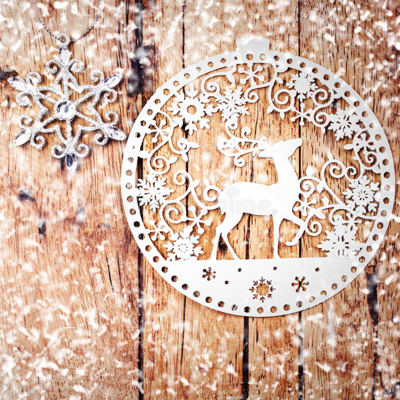 Christmas decoration over wooden background. Vintage Christmas stock photography