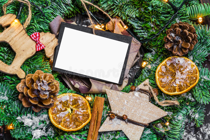 Christmas decoration with paper card royalty free stock photography