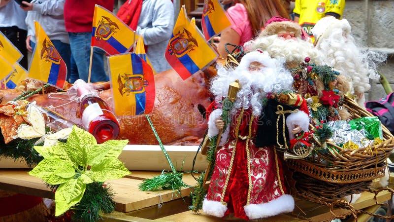 Float decoration at Christmas parade, Ecuador. Christmas decoration of parade`s float with ecuadorian flag, Santa Clause toy, plant, food, drinks and tinsels at stock photo