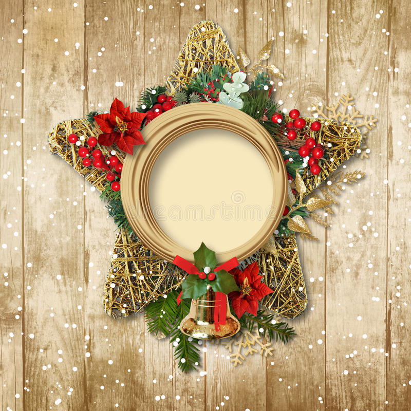 Christmas decoration with poinsettia&bell on a wooden board stock illustration