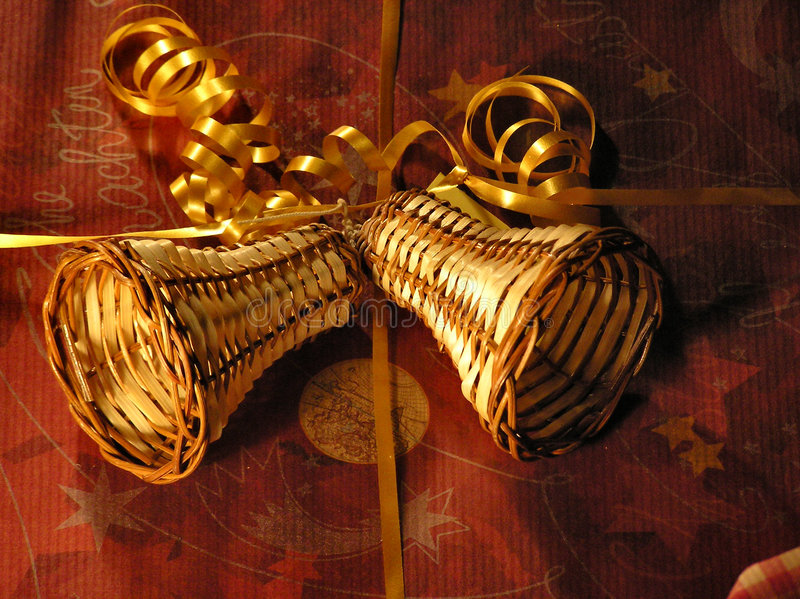 Christmas decoration on a present stock photography