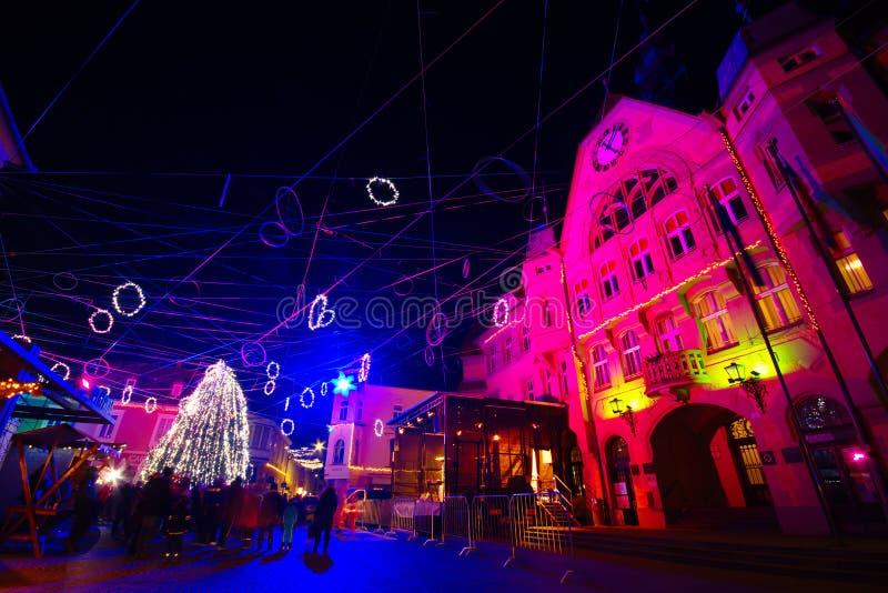Christmas Decoration, Ptuj, Slovenia stock photos