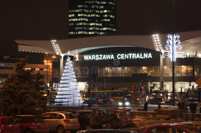 Christmas Decoration - Railway Station In Warsaw Editorial Stock Image