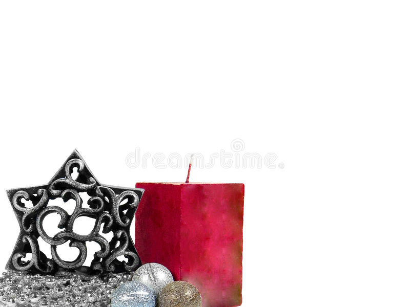 Download Christmas Decoration With Red Candle Stock Image - Image: 12123413