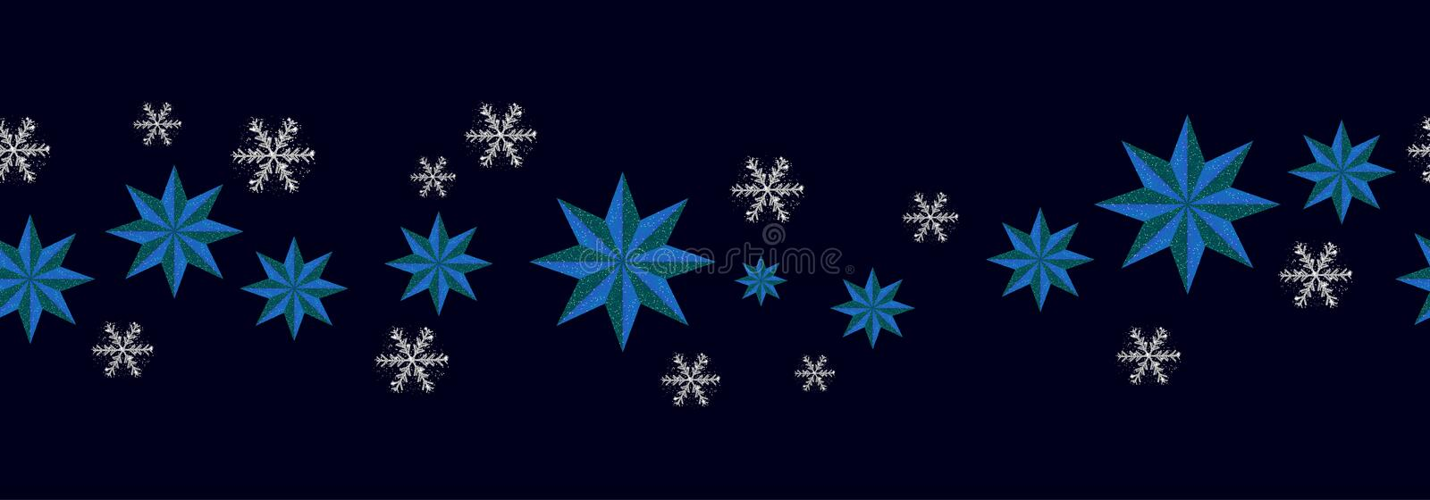 Christmas decoration seamless pattern. New Year border blue stars and silver snowflakes on dark background. Vector stock illustration