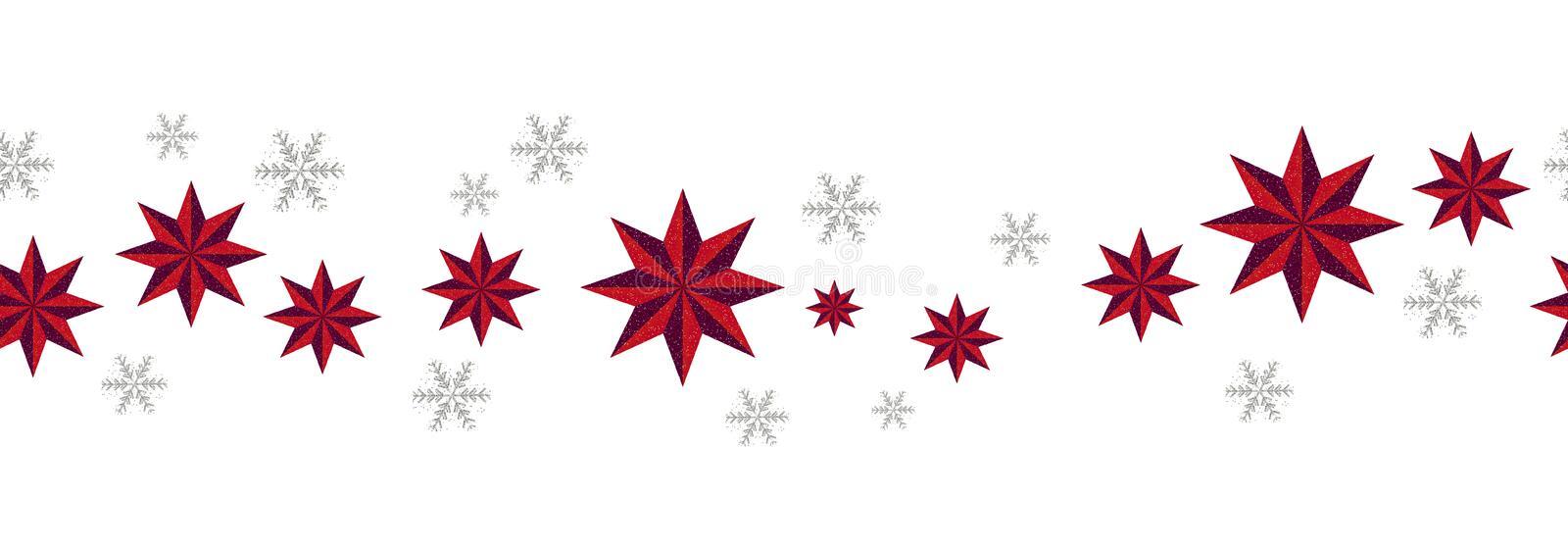 Christmas decoration seamless pattern. New Year border red stars and silver snowflakes on white background. Vector vector illustration
